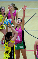 Action from the 2018 Beko National Netball League match between the Netball Central and Netball South at ASB Sports Centre in Wellington, New Zealand on Sunday, 1 July 2018. Photo: Dave Lintott / lintottphoto.co.nz