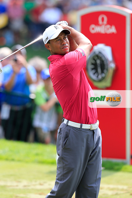 Tiger Woods (USA) on the practice range during Wednesday's Practice Day of the 95th US PGA Championship 2013 held at Oak Hills Country Club, Rochester, New York.<br /> 7th August 2013.<br /> Picture: Eoin Clarke www.golffile.ie