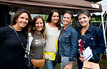 WATERBURY, CT-090818JS07--Kathleen Ferrucci of Watertown; Lysa (cq) Margiotta of Waterbury; Jennifer Egan of Watertown; Amy Mancini of Watertown and Lisa Burnett of Waterbury, at the 13th annual Brass City Brew &amp; 'Que brew festival and barbecue Saturday at Library Park in Waterbury. <br />  Jim Shannon Republican American