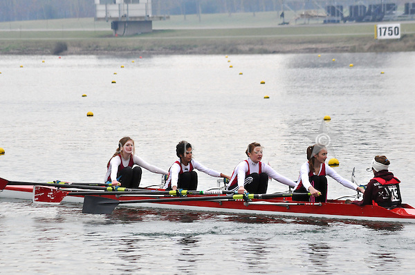 542 MarlowRC W.J13A.4x+..Marlow Regatta Committee Thames Valley Trial Head. 1900m at Dorney Lake/Eton College Rowing Centre, Dorney, Buckinghamshire. Sunday 29 January 2012. Run over three divisions.