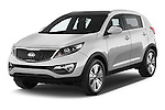 Front three quarter view of a 2014 Kia Sportage Sense SUV