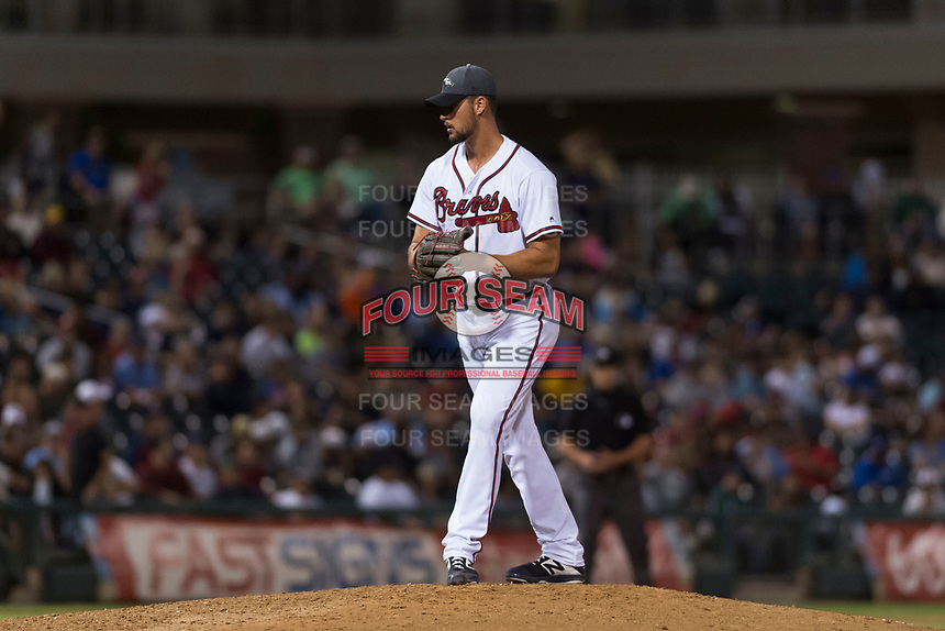 AFL West relief pitcher Kyle Muller (22), of the Peoria Javelinas and Atlanta Braves organization, gets ready to deliver a pitch during the Arizona Fall League Fall Stars game at Surprise Stadium on November 3, 2018 in Surprise, Arizona. The AFL West defeated the AFL East 7-6 . (Zachary Lucy/Four Seam Images)