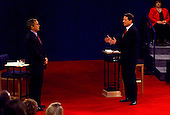 Governor George W. Bush (Republican of Texas), left, and United States Vice President Al Gore, right, at the third U.S. Presidential Debate at the Field House at Washington University in St. Louis, Missouri on October 17, 2000.<br /> Credit: Dennis Brack / Pool via CNP