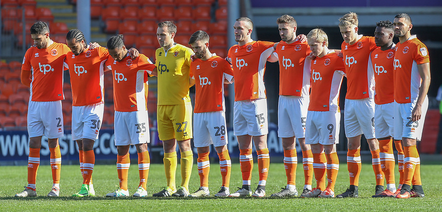 The Blackpool players observe a minute of silence before the match<br /> <br /> Photographer Alex Dodd/CameraSport<br /> <br /> The EFL Sky Bet League Two - Blackpool v Hartlepool United - Saturday 25th March 2017 - Bloomfield Road - Blackpool<br /> <br /> World Copyright &copy; 2017 CameraSport. All rights reserved. 43 Linden Ave. Countesthorpe. Leicester. England. LE8 5PG - Tel: +44 (0) 116 277 4147 - admin@camerasport.com - www.camerasport.com