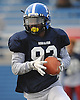 Vincent Deale #92 of Long Beach races downfield during the Nassau County Senior Bowl, pitting the all-stars of Conferences I and IV (White Team) against their Conferences II and III (Blue Team) counterparts at Mitchel Athletic Complex on Thursday, Nov. 24, 2016.