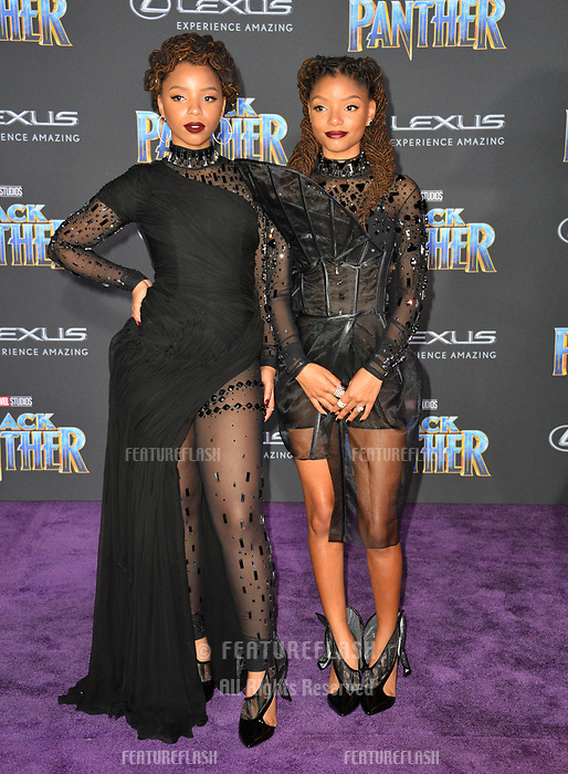 """Chloe X Halle at the world premiere for """"Black Panther"""" at the Dolby Theatre, Hollywood, USA 29 Jan. 2018<br /> Picture: Paul Smith/Featureflash/SilverHub 0208 004 5359 sales@silverhubmedia.com"""