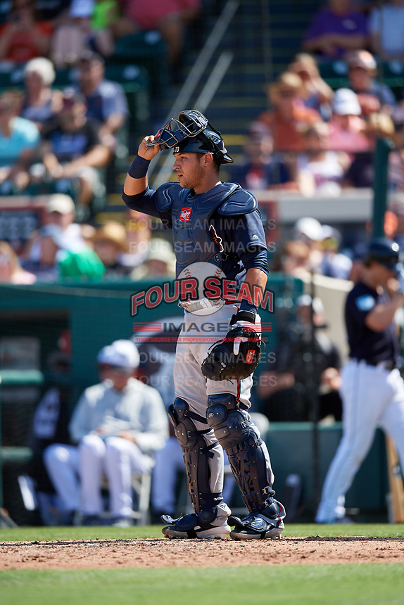 Atlanta Braves catcher Alex Jackson (70) during a Grapefruit League Spring Training game against the Detroit Tigers on March 2, 2019 at Publix Field at Joker Marchant Stadium in Lakeland, Florida.  Tigers defeated the Braves 7-4.  (Mike Janes/Four Seam Images)