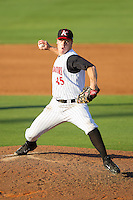 Kannapolis Intimidators relief pitcher Andrew Mitchell (45) in action against the Hickory Crawdads at CMC-Northeast Stadium on May 18, 2014 in Kannapolis, North Carolina.  The Intimidators defeated the Crawdads 6-5 in 10 innings.  (Brian Westerholt/Four Seam Images)