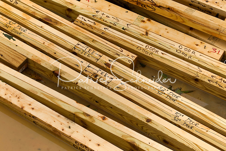 Construction illustration of planks of wood on construction site.
