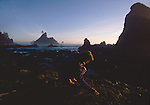 Woman beachcombing, Shi Shi Beach, Olympic National Park, Sea stacks, Point of the Arches, Washington State, Pacific Northwest, Pacific Ocean, USA, Point of Arches was originally purchased for preservation by The Nature Conservancy, Sarah Shannon, .
