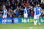 Luciano Neves (c) of Deportivo Leganes celebrates during their La Liga match between Deportivo Leganes and Real Madrid at the Estadio Municipal Butarque on 05 April 2017 in Madrid, Spain. Photo by Diego Gonzalez Souto / Power Sport Images