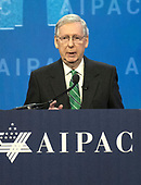 United States Senate Majority Leader Mitch McConnell (Republican of Kentucky)  speaks at the American Israel Public Affairs Committee (AIPAC) 2018 Policy Conference at the Washington Convention Center in Washington, DC on Tuesday, March 6, 2018.<br /> Credit: Ron Sachs / CNP