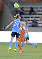 Houston, TX - Friday April 29, 2016: Kelly Conheeney (24) of Sky Blue FC heads the ball away from her goal against the Houston Dash at BBVA Compass Stadium. The Houston Dash tied Sky Blue FC 0-0.