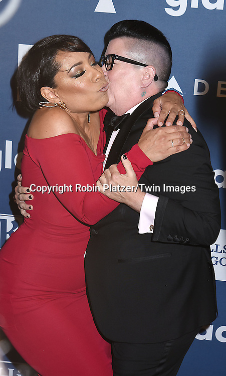 Lea DeLaria and Selenis Leyva attends the 27th Annual GLAAD Media Awards on May 14, 2016 at the Waldorf Astoria Hotel in New York City, New York, USA.<br /> <br /> photo by Robin Platzer/Twin Images<br />  <br /> phone number 212-935-0770