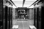 Horse sculpture in office lobby, Liverpool Street, London.
