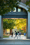 The archway between Bostock and Perkins Libraries is a flurry of activity on a crisp November morning.