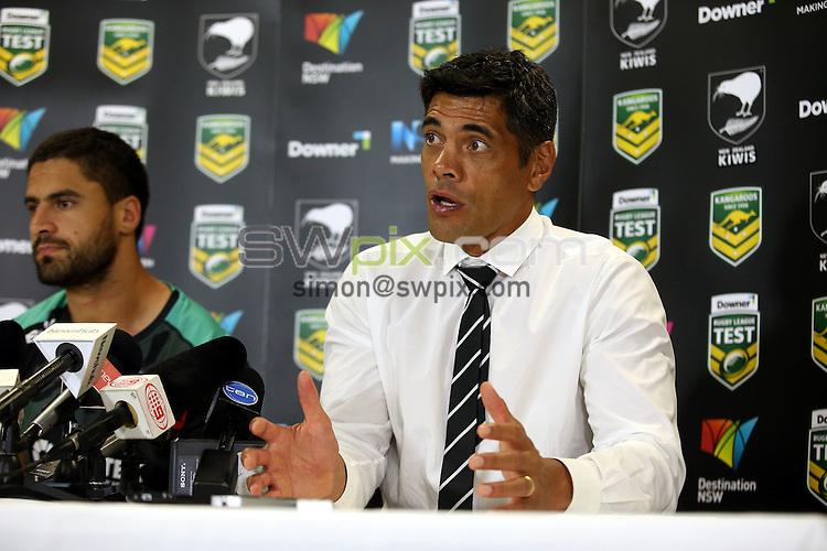 Stephen Kearney at the press conference<br /> Trans Tasman NZRL Kiwis v Australia Test Match at Hunter Stadium, Newcastle, Australia. Friday 6 May 2016. Photo: Paul Seiser / www.photosport.nz / SWpix.com