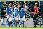 St Johnstone v Celtic...13.08.14  SPFL<br /> Dave Mackay protests to ref John Beaton after he was sent off<br /> Picture by Graeme Hart.<br /> Copyright Perthshire Picture Agency<br /> Tel: 01738 623350  Mobile: 07990 594431