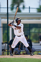 GCL Pirates outfielder Victor Fernandez (23) at bat during the first game of a doubleheader against the GCL Yankees 2 on July 31, 2015 at the Pirate City in Bradenton, Florida.  GCL Pirates defeated the GCL Yankees 2 2-1.  (Mike Janes/Four Seam Images)
