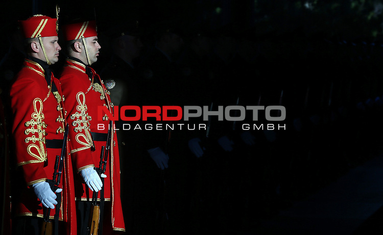 19.02.2015., Zagreb, Croatia - Preparation of the red carpet and honor guard prior to arrival  of the new president Kolinda Grabar-Kitarovic on the first working day.<br /> <br /> Foto &copy;  nph / PIXSELL / Sajin Strukic