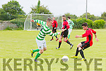In Action  Celtics Bryan Murphy and Dynamos Danny Roche  at  the Denny Premier A League Final Tralee Dynamos against Listowel Celtic AFC at Mounthawk Park on Sunday