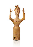 Minoan Postpalatial terracotta  goddess statue with raised arms and crown,  Karphi Sanctuary 1200-1100 BC, Heraklion Archaeological Museum, white background. <br /> <br /> The Goddesses are crowned with symbols of earth and sky in the shapes of snakes and birds, describing attributes of the goddess as protector of nature.