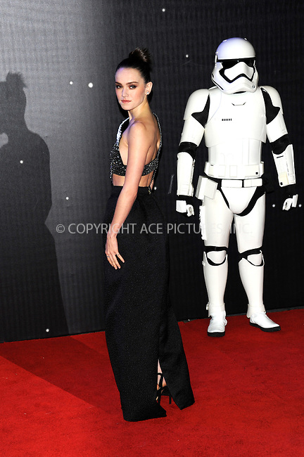 WWW.ACEPIXS.COM<br /> <br /> December 16 2015, London<br /> <br /> Daisy Ridley arriving at the European Premiere of 'Star Wars: The Force Awakens' in Leicester Square on December 16, 2015 in London, England.<br /> <br /> By Line: Famous/ACE Pictures<br /> <br /> <br /> ACE Pictures, Inc.<br /> tel: 646 769 0430<br /> Email: info@acepixs.com<br /> www.acepixs.com