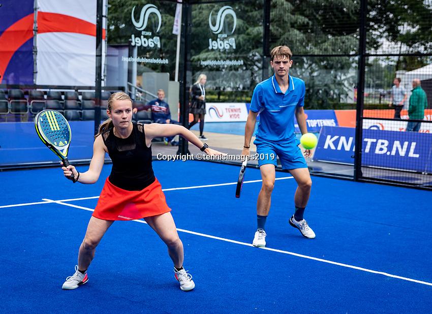 Rosmalen, Netherlands, 15 June, 2019, Tennis, Libema Open, NK Final Padel Mixed: Milou Ettekhoven (NED) and Victor Rutten (NED) scoreboard<br /> Photo: Henk Koster/tennisimages.com