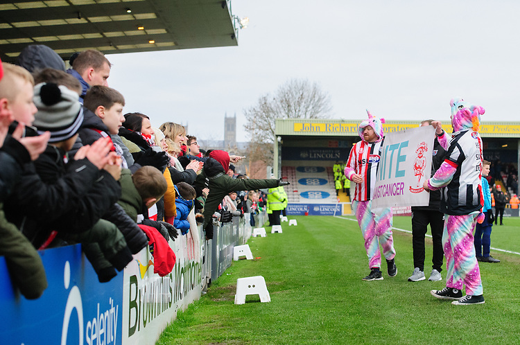 Lincoln City fan Steve Orient and Grimsby Town fan James Whaley thank the fans for the support of their fundraising challenges, raising money for Demi Knight's cancer treatment<br /> <br /> Photographer Chris Vaughan/CameraSport<br /> <br /> The EFL Sky Bet League Two - Lincoln City v Grimsby Town - Saturday 19 January 2019 - Sincil Bank - Lincoln<br /> <br /> World Copyright &copy; 2019 CameraSport. All rights reserved. 43 Linden Ave. Countesthorpe. Leicester. England. LE8 5PG - Tel: +44 (0) 116 277 4147 - admin@camerasport.com - www.camerasport.com