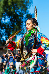 RANDALL'S ISLAND ISLAND, MANHATTEN - October 10, 2016: a Jingle Dancer performs at the Indigemous Peoples Day Celebration.