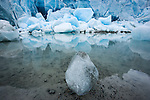 A chunk of translucent ice sits on the mud near the edge of Glacier Bay, while larger blue chunks of ice lie on the shoreline, Alaska.