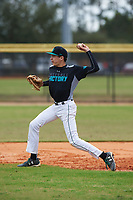 Jack Carver (13) of Ponte Vedra, Florida during the Baseball Factory All-America Pre-Season Rookie Tournament, powered by Under Armour, on January 13, 2018 at Lake Myrtle Sports Complex in Auburndale, Florida.  (Michael Johnson/Four Seam Images)