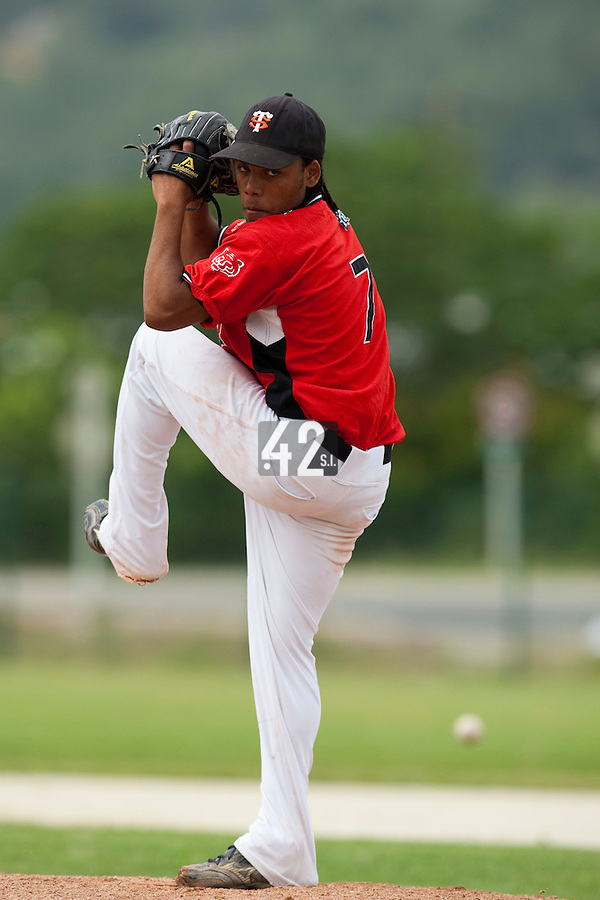 21 May 2009: Euri Garcia Martinez of Toulouse pitches against Savigny during the 2009 challenge de France, a tournament with the best French baseball teams - all eight elite league clubs - to determine a spot in the European Cup next year, at Montpellier, France.