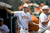 Pitcher Taylor Jungmann of the Texas Longhorns in the dugout against Texas Tech on April 17, 2011 at UFCU Disch-Falk Field in Austin, Texas. (Photo by Andrew Woolley / Four Seam Images)
