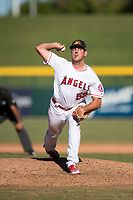 Mesa Solar Sox relief pitcher Brett Hanewich (53), of the Los Angeles Angels organization, delivers a pitch during an Arizona Fall League game against the Peoria Javelinas at Sloan Park on November 6, 2018 in Mesa, Arizona. Mesa defeated Peoria 7-5 . (Zachary Lucy/Four Seam Images)