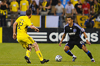 27 MAY 2009: #12 Eddie Gaven, Columbus Crew forward and #21 Jason Hernandez of the San Jose Earthquakes in action during the San Jose Earthquakes at Columbus Crew MLS game in Columbus, Ohio on May 27, 2009.