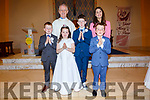 The pupils from Foilmore NS who made their First Holy Communion on Saturday in the Church of the Immaculate Conception, Foilmore pictured front l-r; Kieran Griffin, Sorcha O'Sullivan, Rián Griffin, Sean Lynch, back l-r; Fr. Larry Kelly & Emma O'Connor.