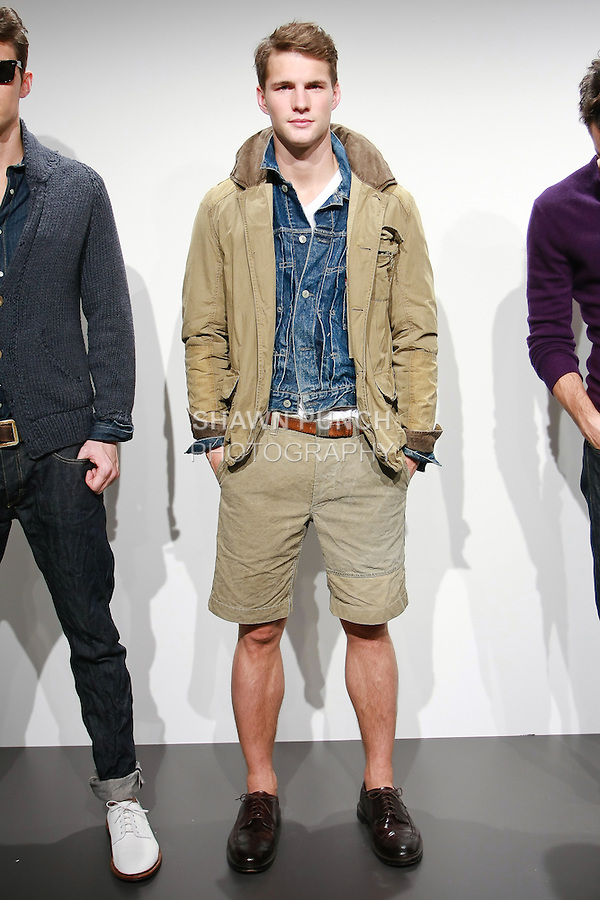 Model poses in a J. Crew Spring 2011 Men's outfit by Frank Muytjens, during the J. Crew Spring 2011 Collection Presentation.