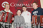 Accordion class: At the Eigse Dhiarmuid Ui Chathain master class in the Ceolann, Lixnaw, on Saturday morning were Ann McAuliffe, Castleisland (Tutor), with Emma Linnane, Tralee, Kevin Shanahan, Ardfert, and Nicholas Burke, Ballyduff..