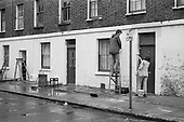 """Paint-in"" in Carol Street, a row of squatted houses in Camden Town, London, which was later granted short-life status and subsequently became a council-supported housing co-operative."