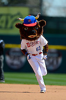 Buffalo Bisons mascot Buster T. Bison runs the bases for an on field promotion during the first game of a doubleheader against the Pawtucket Red Sox on April 25, 2013 at Coca-Cola Field in Buffalo, New York.  Pawtucket defeated Buffalo 8-3.  (Mike Janes/Four Seam Images)