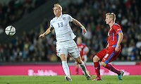 PRAGUE, Czech Republic - September 3, 2014: USA's Brek Shea and David Limbersky of the Czech Republic during the international friendly match between the Czech Republic and the USA at Generali Arena.