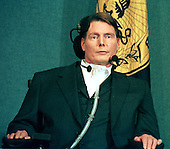 "Christopher Reeve, actor, quadriplegic, disability rights activist and star of the ""Superman"" movies who was paralyzed in a riding accident in 1995, passed away in New York on October 10, 2004 of cardiac arrest.  This photo was taken at the National Press Club in Washington, D.C. on December 1, 1999.  Reeve was an outspoken advocate for stem-cell research..Credit: Ron Sachs / CNP"