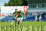 In Action Crotta's  Shane Nolan and Abbeydorney's Aidan Healy  at the Senior County Hurling Championship 2016 Round 1 Replay Crotta O'Neills v Abbeydorney at Austin Stacks Park on Sunday