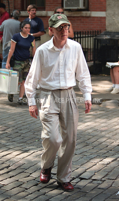 Woody Allen on the set of his latest film in the West Village, New York. July 8, 2002. Please byline: Alecsey Boldeskul/NY Photo Press.   ..*PAY-PER-USE*      ....NY Photo Press:  ..phone (646) 267-6913;   ..e-mail: info@nyphotopress.com