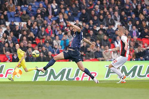 02.04.2016. Paris, France. French League 1 football. Paris St Germain versus Nice.  Zlatan Ibrahimovic (psg) scores for PSG past keeper Maxime Le Marchand (OGC Nice)