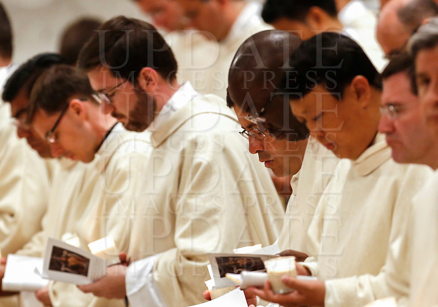 Priests attend the Easter vigil ceremony celebrated by Pope Francis in St. Peter's Basilica at the Vatican, April 20, 2019.<br /> UPDATE IMAGES PRESS/Riccardo De Luca<br /> <br /> STRICTLY ONLY FOR EDITORIAL USE