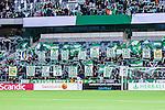 Stockholm 2014-05-04 Fotboll Superettan Hammarby IF - IFK V&auml;rnamo :  <br /> Hammarby supportrar ultras med flaggor och skyltar <br /> (Foto: Kenta J&ouml;nsson) Nyckelord:  Superettan Tele2 Arena Hammarby HIF Bajen V&auml;rnamo supporter fans publik supporters