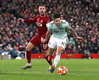 Bayern Munich's James Rodriguez Liverpool's gets away from Jordan Henderson<br /> <br /> Photographer Rich Linley/CameraSport<br /> <br /> UEFA Champions League Round of 16 First Leg - Liverpool and Bayern Munich - Tuesday 19th February 2019 - Anfield - Liverpool<br />  <br /> World Copyright © 2018 CameraSport. All rights reserved. 43 Linden Ave. Countesthorpe. Leicester. England. LE8 5PG - Tel: +44 (0) 116 277 4147 - admin@camerasport.com - www.camerasport.com