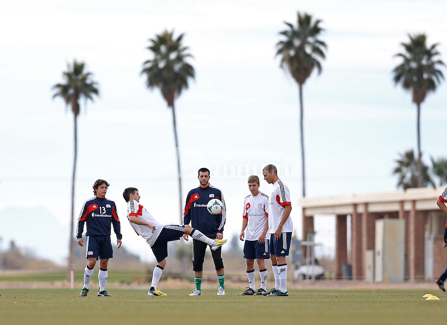 Jan. 25, 2013; Casa Grande, AZ, USA: New England Revolution players warm up prior to their preseason game against the Sporting KC at Grande Sports World. Mandatory Credit: Mark J. Rebilas-USA TODAY Sports